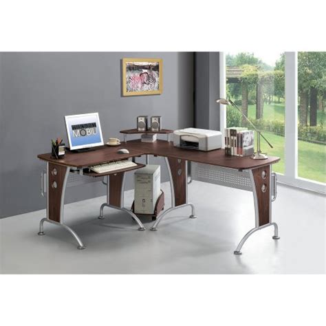 techni mobili l shaped computer desk mahogany workstation home furniture stock