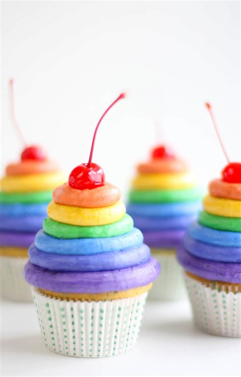 colorful cupcakes rainbow frosting cupcakes sprinkle bakes