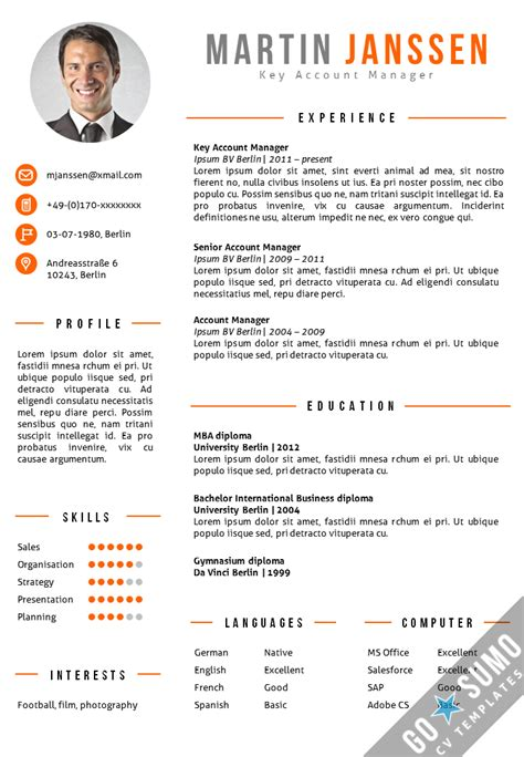 Cv Template by Cv Template Berlin Go Sumo Cv Template