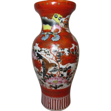 Two Faces And A Vase Antique Japanese Colorful Kutani Porcelain Vase Birds And
