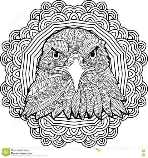 eagle mandala coloring pages coloring page for adults stern eagle on a background of a