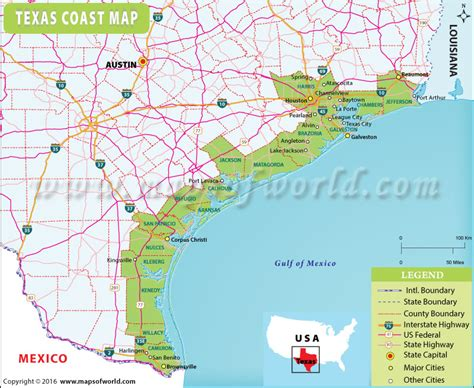 texas coastal map map of texas coast my