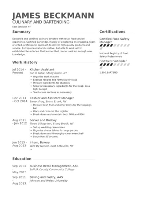 Assistant Kitchen Manager Resume by Cuisine Exemple De Cv Base De Donn 233 Es Des Cv De Visualcv