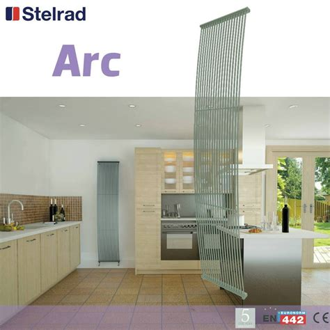 Designer Kitchen Radiators Stelrad Arc 1800mm X 380mm Metallic Grey Vertical Designer
