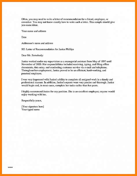 Letter Of Recommendation Sles For Coworker letter of recommendation unique sle recommendation