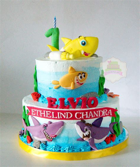 baby shark bday cake baby shark tiered cake for elvio