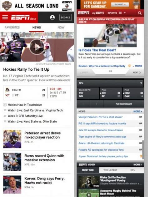 espn football scores mobile espn is launching a major redesign here s an early look