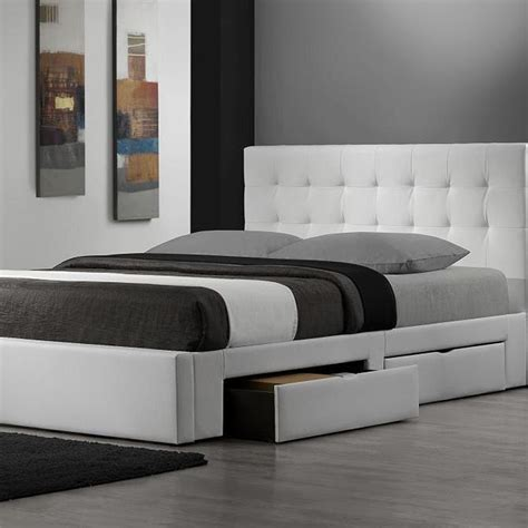 King Platform Bed Frame With Headboard White Leather King Size Platform Bed Frame With Tufted Leather Upholstered Headboard And Two