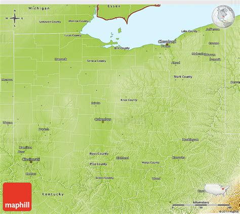 physical map of ohio physical 3d map of ohio