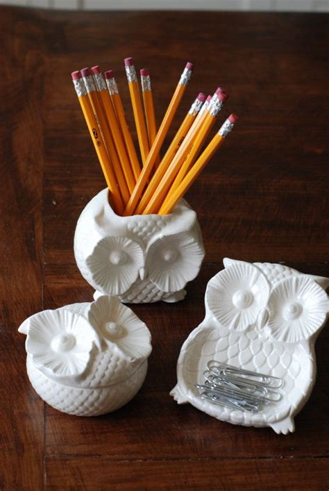 Handmade Modern Vintage Open Catchall Toothbrush Owl Themed Desk Accessories