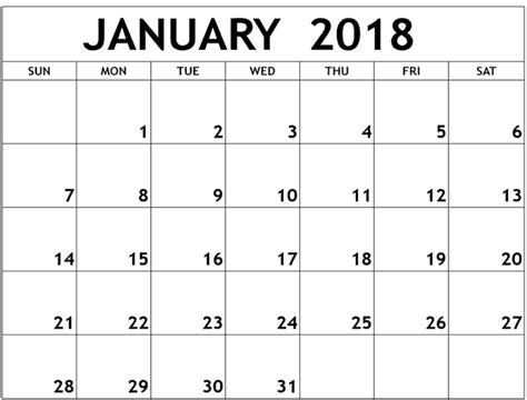 printable calendar template january 2018 blank january 2018 calendar calendar template letter