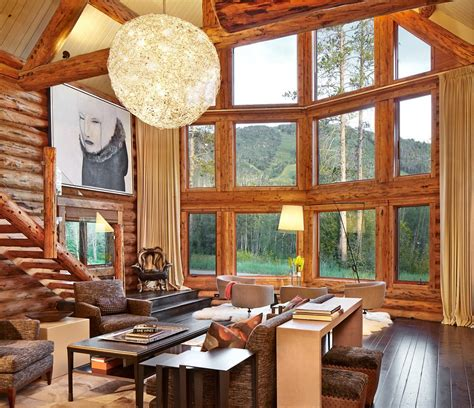 Mountain Lodge Floor Plans Rustic Log Retreat Blends Modern Accents And Spectacular Views