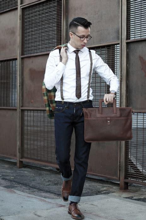 wear suspenders  jeans  men  male