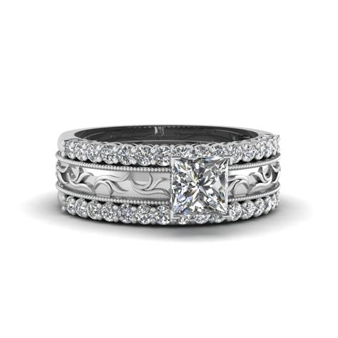 search our 14k white gold trio wedding ring sets