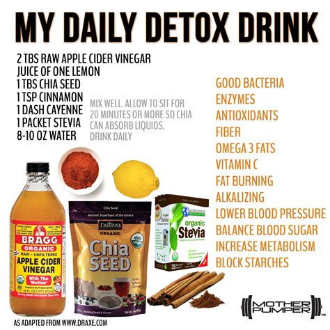 How To Make A Detox Drink With Apple Cider Vinegar by Recipe For My Daily Detox Drink Healthy Detox