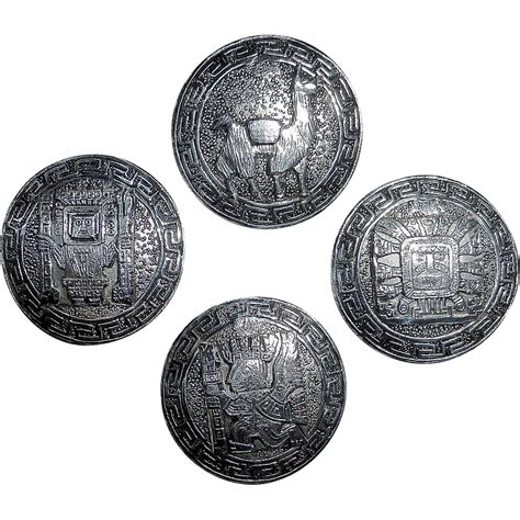 Handcrafted Buttons - set of four sterling handcrafted ethnic peruvian buttons