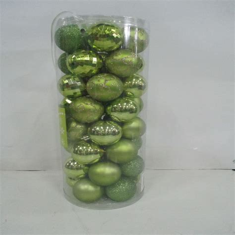 pack of 40 christmas balls decoration lime green 6cm