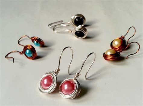 Bead Stud Earring simple wire wrapped earrings 183 how to make a pair of wire