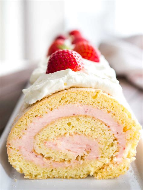 Special Roll Cake Without Topping strawberry swiss roll cake recipe plated cravings