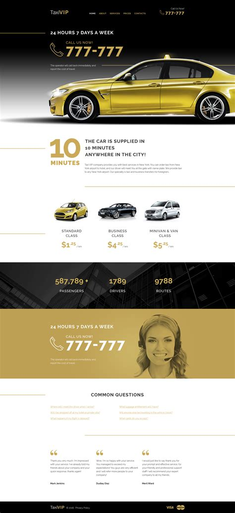 Taxi Service Web Template Taxi Company Website Template
