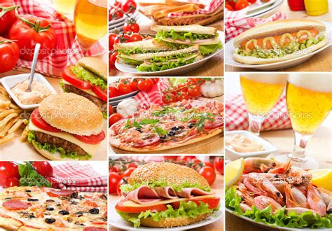 Collage Of Different Fast Food Products Stock Photo Fast Food Collage