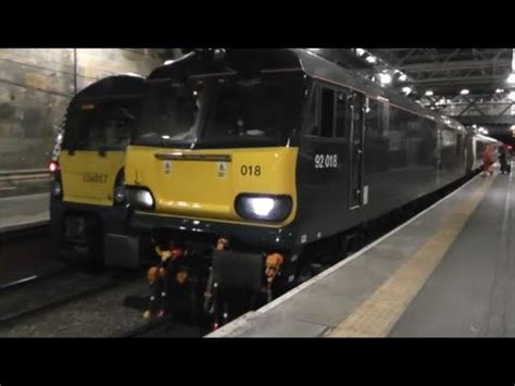Caledonian Sleeper Stops by Caledonian Sleeper Class 92 At Edinburgh Waverley