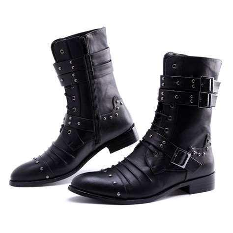 mens high leg boots high leg boots pointed toe leather boots high rivet
