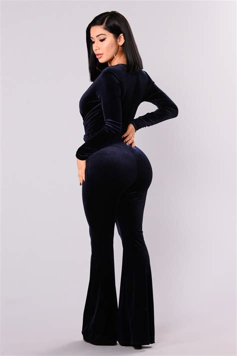 jump in the cadillac velvet jumpsuit navy