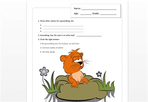 groundhog day questions children s groundhog day quiz template for word