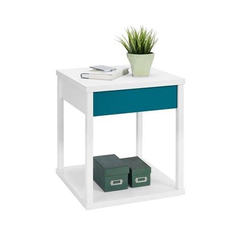 Teal Table L End Table White Finish With Teal Drawer Front 5069196pcom