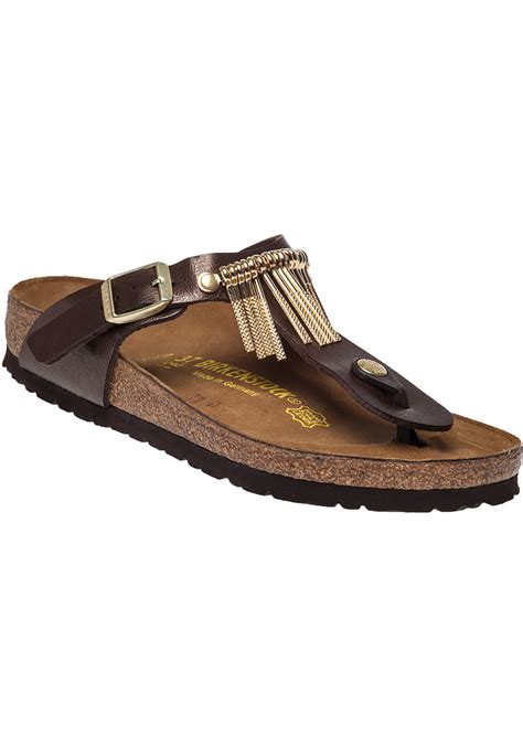 gizeh sandal lyst birkenstock gizeh fringed leather sandals in brown