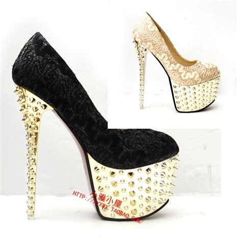 Dress Wedges Black Grc 2013 16cm Rivet Peep Toe High Heels Shoes S