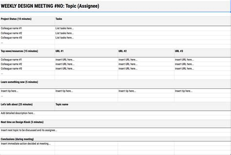 minutes sle template how to make use of weekly design meetings design guru