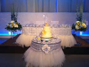 white and silver wedding decor head table www.WeddingGirl