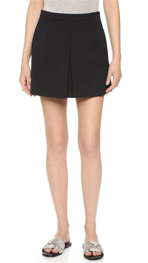 vince inverted front pleat skirt black in black lyst