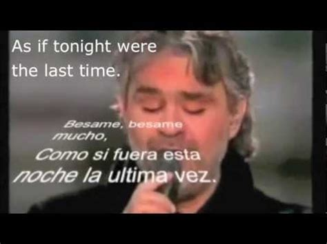 besame andrea bocelli besame mucho andrea bocelli with spanish lyrics subtitles