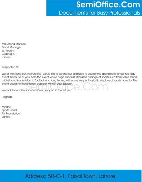 Thank You Letter Template To Sponsors Thank You Letter For Sponsorship Of Event
