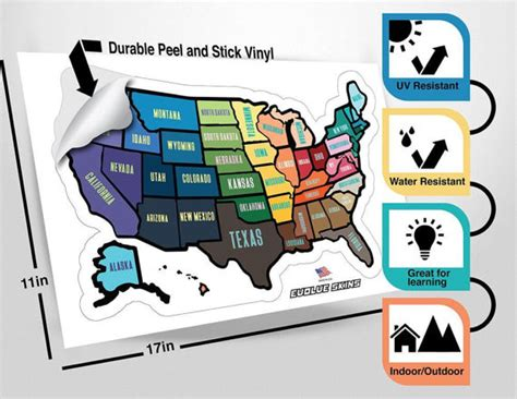 rv united states sticker map us travel decal rv sticker 13 quot x 17 quot inches rv trailer