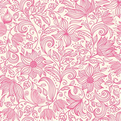 pink pattern vector free download pink outlines flower seamless pattern vector 03 vector