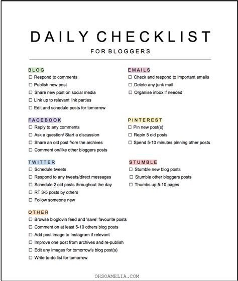 daily routine checklist template check out my daily blogging tasks including a free