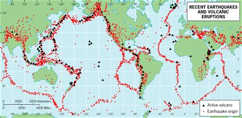 recent earthquakes map map of recent earthquakes and volcanic eruptions of the
