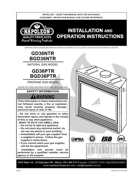 Fireplace Insert Manual by Gas Fireplace Fireplaces