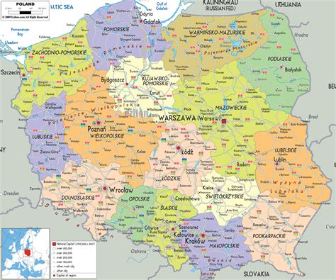 map with cities large detailed political and administrative map of poland with all cities roads and airports