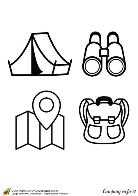 Coloriage camping en forêt, la tente, les jumelles, la