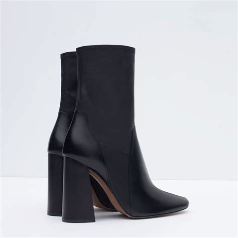 high heel ankle shoes zara leather high heel ankle boots in black lyst