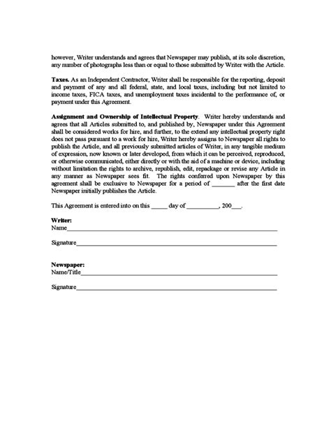 Sle Freelance Writer Agreement Free Download Freelance Writer Agreement Template