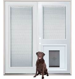 French Doors With Dog Door Installed - patio french back doors with internal mini blinds and pet doggy door insert pre installed home