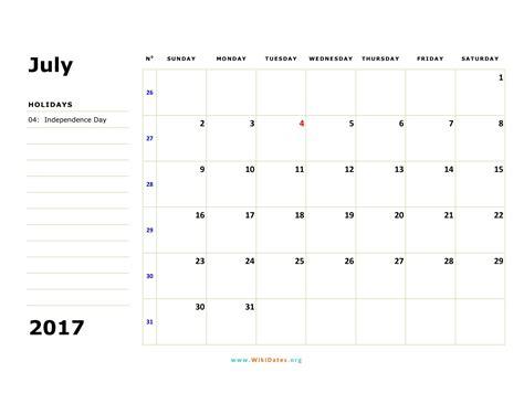 Juli Kalender 2017 July 2017 Calendar Wikidates Org