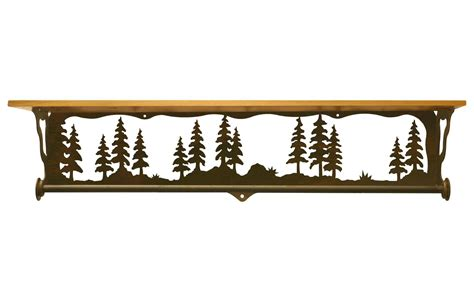 Shelf Top by 34 Quot Pine Tree Forest Metal Towel Bar With Pine Wood Top Wall Shelf Towel Holder