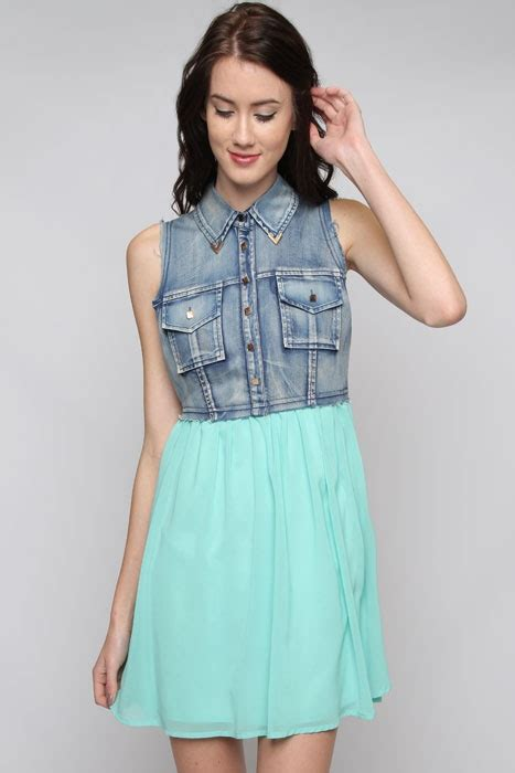 Best Denim Chiffon Dress turquoise denim chiffon dress dress for success
